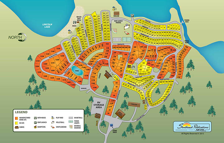 Lincoln Pines Resort Campground Sitemap for our Michigan Campground